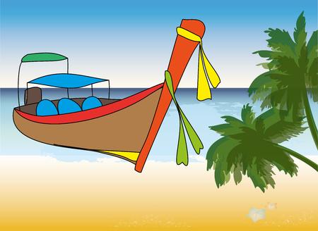 Longtale boat on beach, cartoon vector illustration