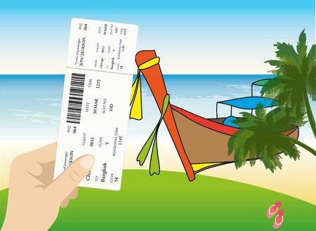 samui: blank airline boarding pass in hand. Thailand  beach view in the background . Vector.