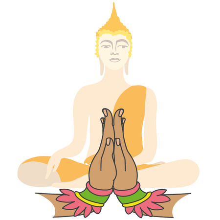 believes: Buddha and Two hands  in prayer, vector  illustration Illustration