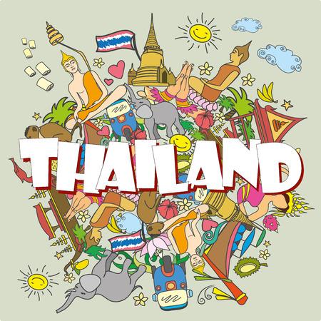 barco caricatura: Tailandia. Establecer los iconos y símbolos del vector de color tailandesa, ilustración vectorial de dibujos animados
