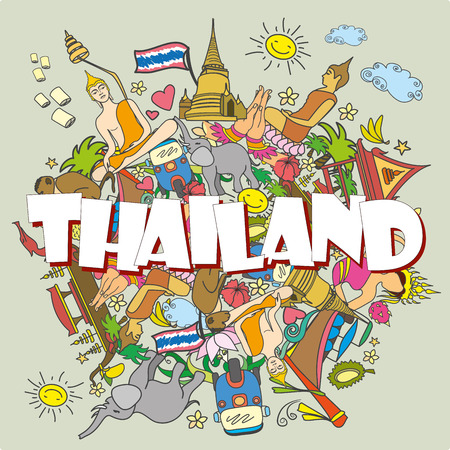 Thailand. Stel Thai kleur vector pictogrammen en symbolen, cartoon vector illustratie Stock Illustratie