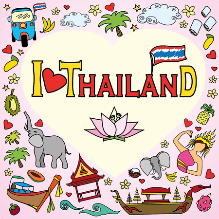 floating market: I love Thailand . Set Thai color vector icons and symbols , vector illustration