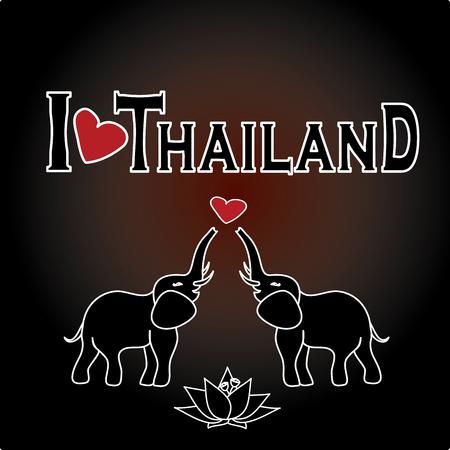 floating market: I love Thailand . Set Thai  vector icons and symbols , vector illustration