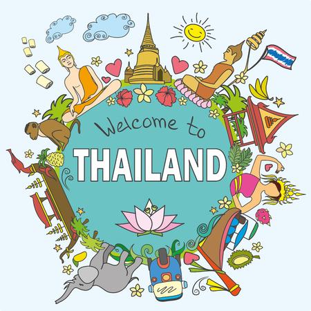 Bienvenido a Tailandia . Establecer los iconos y símbolos del vector de color tailandesa, ilustración vectorial