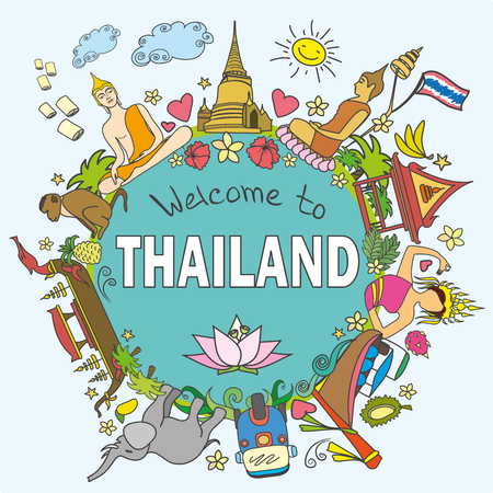 floating market: Welcome to Thailand . Set Thai color vector icons and symbols , vector illustration Illustration