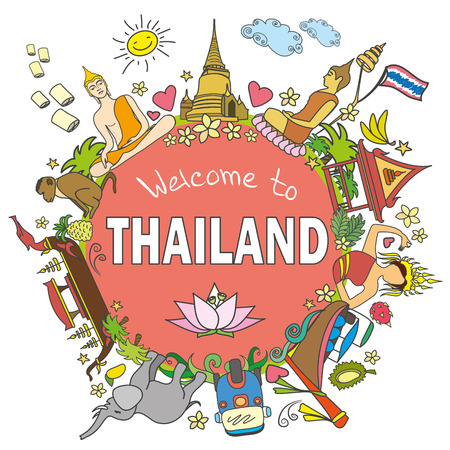 stupa: Welcome to Thailand . Set Thai color vector icons and symbols , vector illustration Illustration