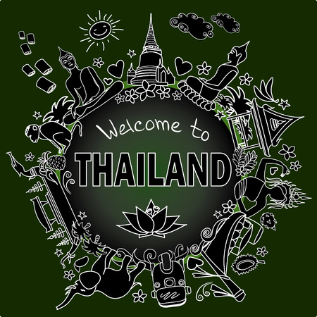 stupa: Welcome to Thailand . Set Thai color vector icons and symbols ,white on dark background, vector illustration