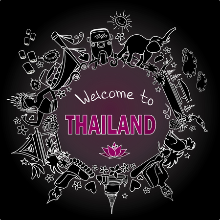 Welcome to Thailand . Set Thai color vector icons and symbols , vector illustration