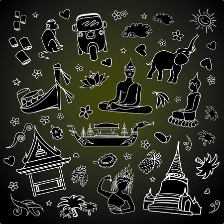 floating market: Thailand . Set Thai color vector icons and symbols , vector illustration