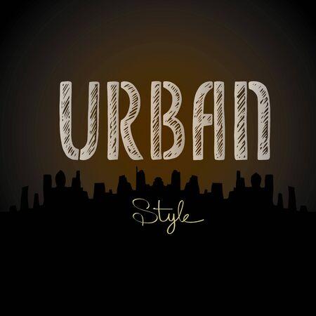 urban grunge: Urban word, city silhouette, vector background