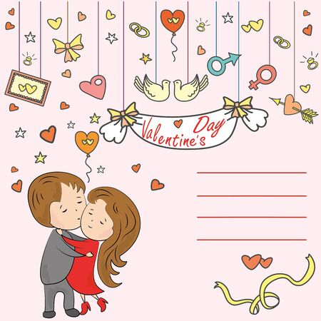 love tree: Greeting card, love tree, loving couple and a place for an inscription, vector illustration