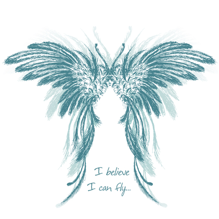 belive: Wings,hand drawing, vector illustration.