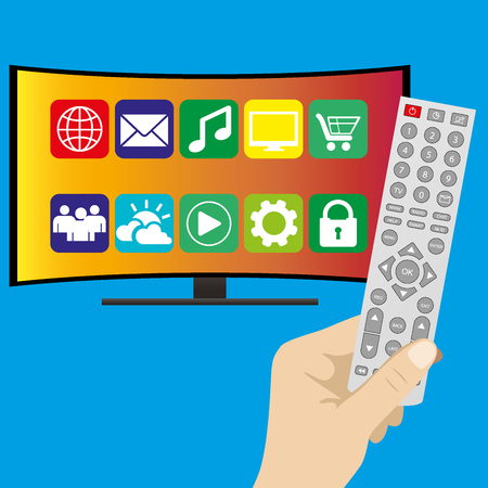 hd tv: Hand holding remote control and curved ultra HD TV, flat vector illustration on blue background Illustration