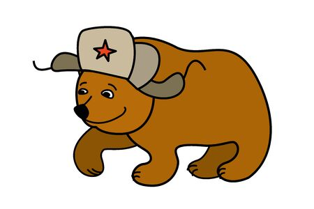russian hat: Cartoon Bear wearing a Russian hat earflaps, isolated on white background, vector Illustration