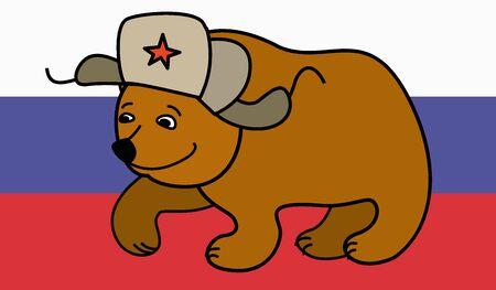 russian hat: Cartoon Bear wearing a Russian hat earflaps,russian flag on background, vector