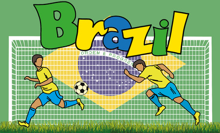 brazilian flag: Cartoon football picture on the background of the Brazilian flag and an inscription Brazil, vector illustration