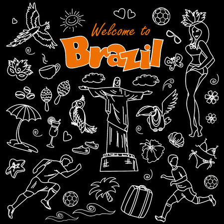 woman sandals: Big cartoon set of Brazilian templates - football, Brazilian accessories, clothes, trees, musical instruments, animals.White on black background