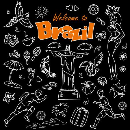 femme valise: jeu de dessin animé Big de modèles brésiliens - le football, accessoires brésiliens, vêtements, arbres, instruments de musique, animals.White sur fond noir Illustration