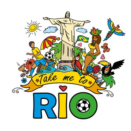 リオ、ブラジルのテンプレート - サッカー、ブラジル アクセサリー、服、木、楽器、動物の大きな漫画セットに連れてって。バナー、スポーツの背