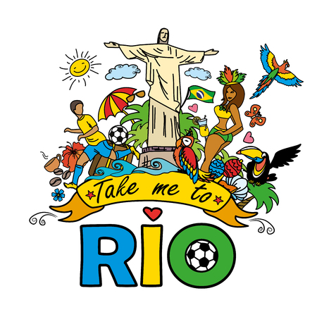 Take me to Rio , Big cartoon set of Brazilian templates - football, Brazilian accessories, clothes, trees, musical instruments, animals. For banners, sport backgrounds, presentations. On white background Ilustração