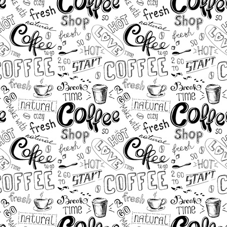 seamless doodle coffee pattern on white  background ,hand drawn vector illustration Illustration