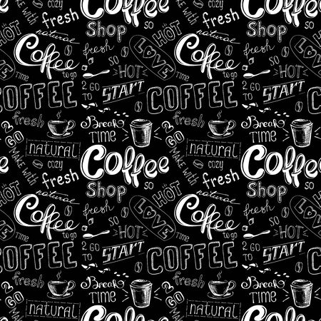 black coffee: seamless doodle coffee pattern on black  background ,hand drawn vector illustration Illustration