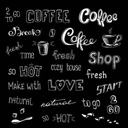 coffee background or icon,hand drawn vector illustration