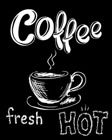 Fresh and hot coffee. Hand drawn vector background
