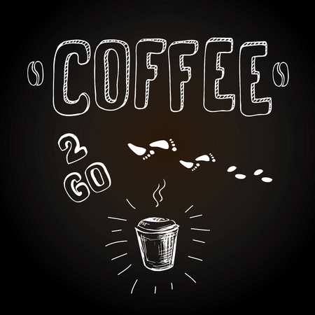 Coffee to go. Hand drawn vector card or background Illustration