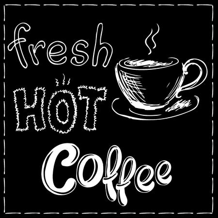 espreso: Fresh and hot coffee background, hand drawn vector illustration