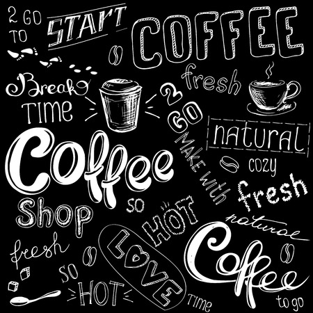 espreso: Coffee doodle background, hand drawn on black,vector illustration