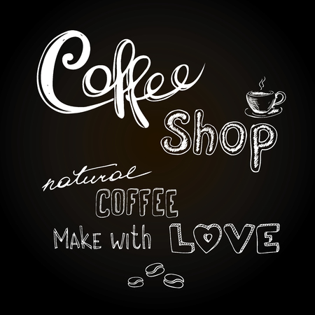 Coffee shop.Hand drawn vector illustration.