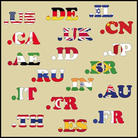 domains: Set of domains in national flag colors, vector illustration Illustration