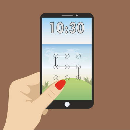 saver: Hand holding smart phone, the screen saver with a graphical password, and clock.