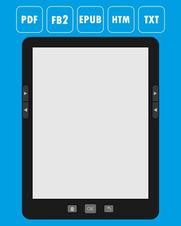 formats: Vector illustration of a portable modern tablet e-book reader, with icons of popular formats