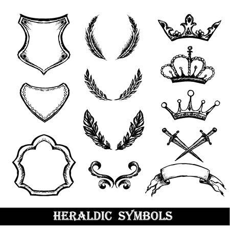 heraldic symbols: heraldic symbols, hand drawing,monochrome vector illustration Illustration