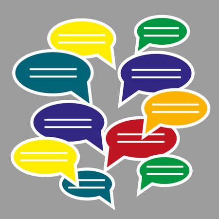 text messaging: blank speech bubbles for text. Text messaging flat design concept.