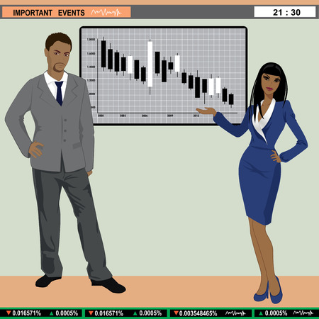 newsroom: Vector illustration of TV finance news anchors Illustration
