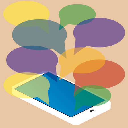 text messaging: smartphone with blank speech bubbles for text. Text messaging flat design concept. Illustration