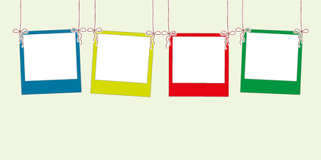 rope vector: Blank photo frame hanging on a  rope ,vector illustration Illustration