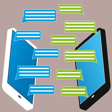 text messaging: Black and white smartphone with blank speech bubbles for text. Text messaging  design concept. Eps 10 vector illustration