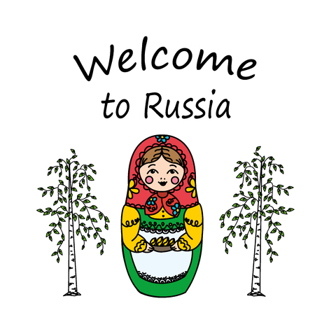 matrioska: Welcome to Russia.Russian dolls - matryoshka and birch. Vector illustration