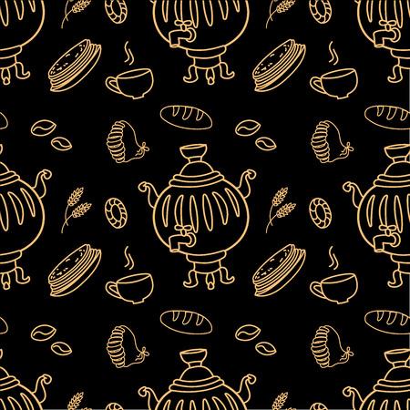 samovar: Seamless pattern with Russian traditional food and Samovar on black, vector illustration