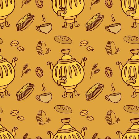 samovar: Seamless pattern with Russian traditional food and Samovar, vector illustration