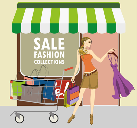 lady shopping: illustration of lady with shopping cart and shopping bags