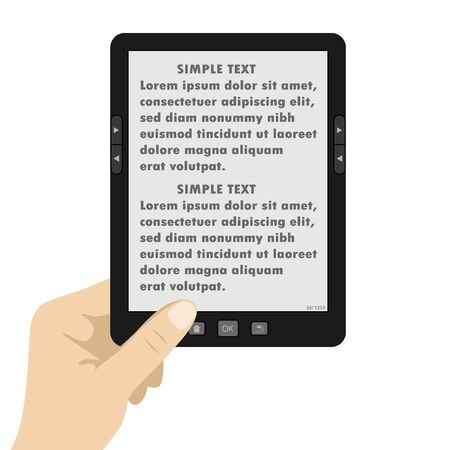 ebook reader: Hand holding portable modern tablet  e-book reader,text on screen