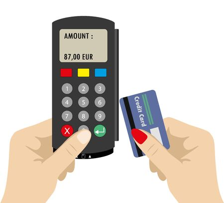 second hand: One Hand holding pos terminal and second hand holding credit card. Using pos terminal concept. Flat style Illustration