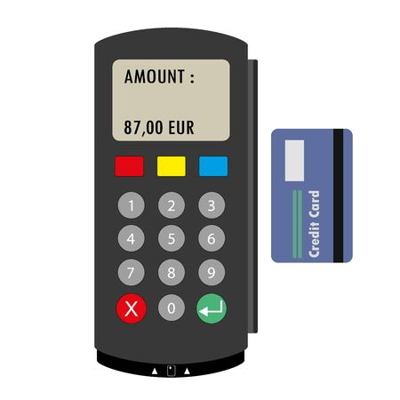keypad: Flat concept POS terminal. Vector illustration isolated on white background