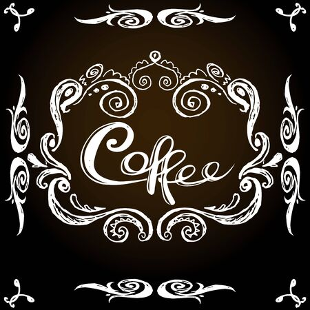 Coffee vintage label, hand drawing, vector illustration