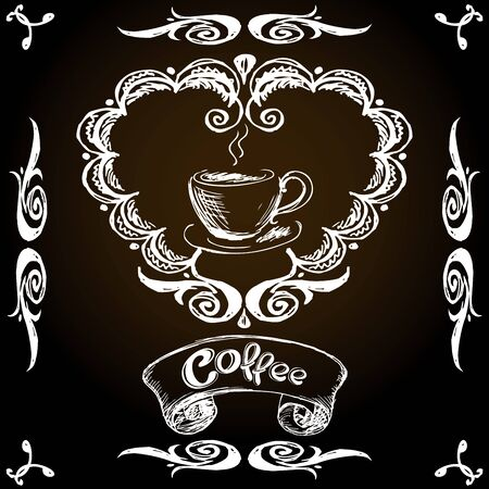 vintage label,coffee and cup, hand drawing, vector illustration